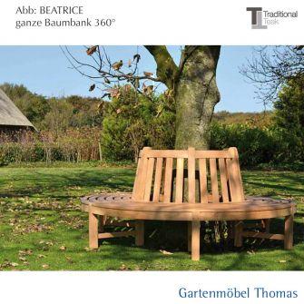 Traditional Teak BEATRICE Baumbank halbrund 180° Teakholz (210x105cm)