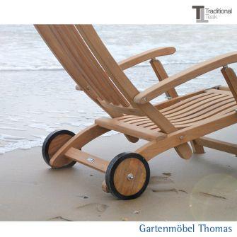 Traditional Teak VICTORIA Deckchair-Räder Teakholz