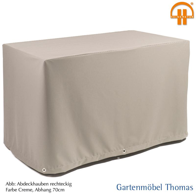 Abdeckhaube Tisch 200x90x70cm Farbe Creme Atmungsaktiv Mit Osen Und