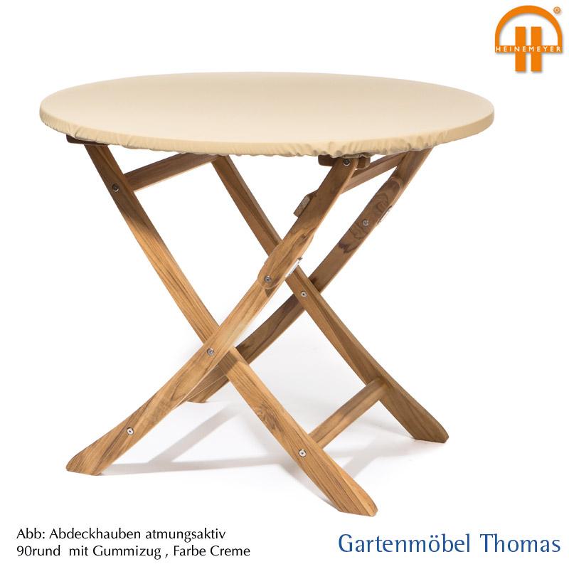 Schutzhulle Abdeckhaube Tischplatte 150cm Rund Farbe Creme