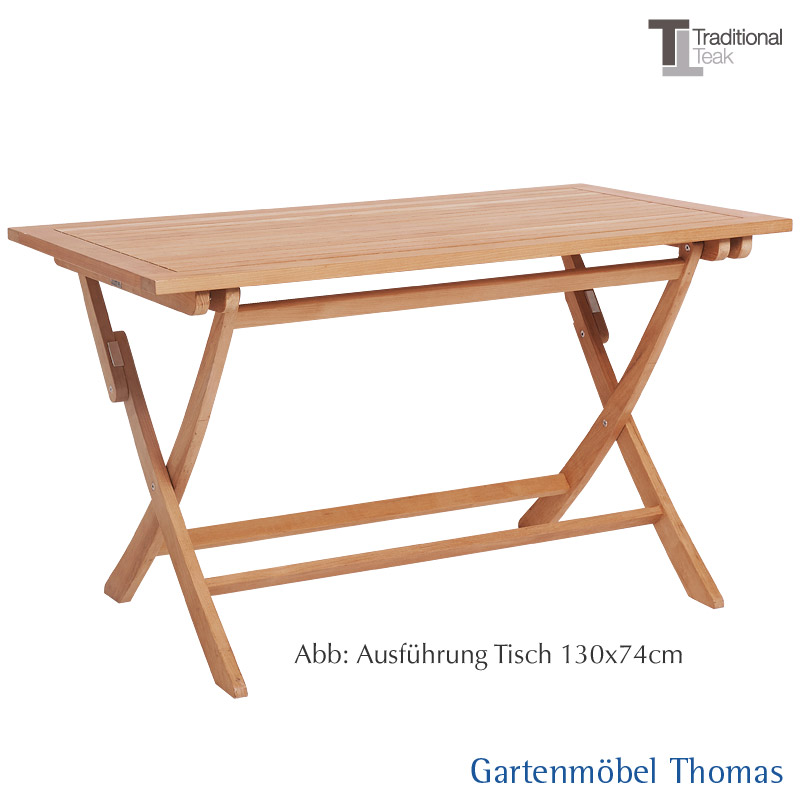 Gartenmöbel Thomas | Traditional Teak ALEXIA Klapptisch 130x74 cm ...