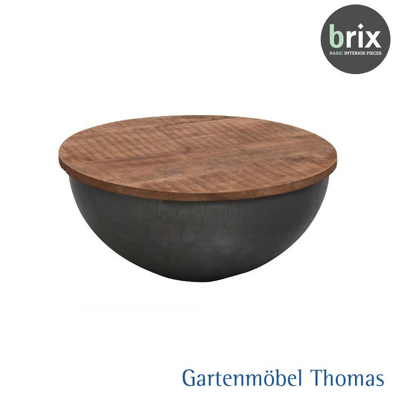 Brix Suzan Beistelltisch Rund 60cm Metall Schwarz Tischplatte Teak