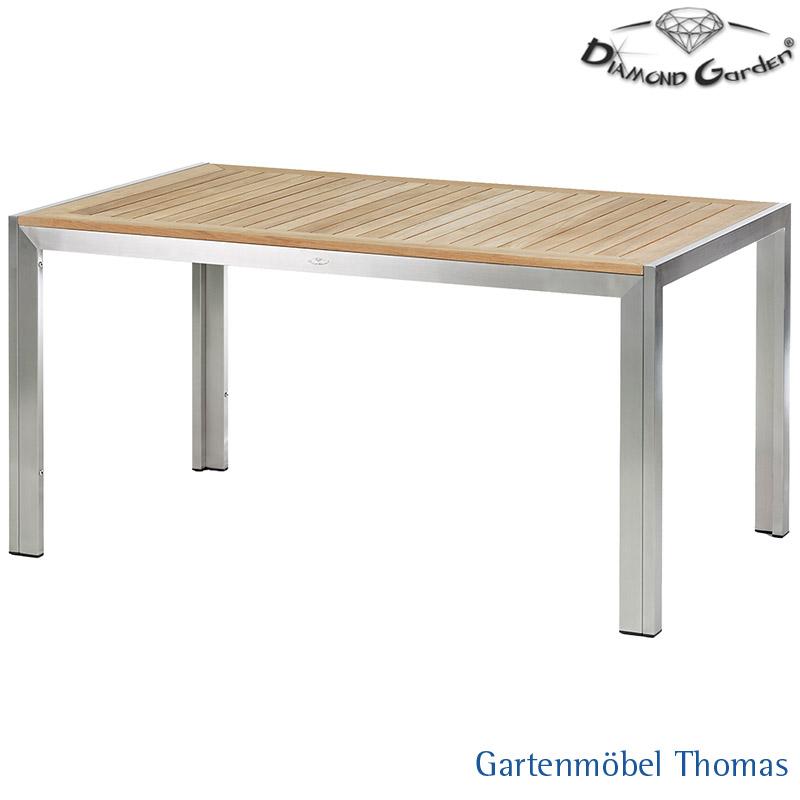 Diamond Garden Siena Tisch Gestell Edelstahl Tischplatte Teak
