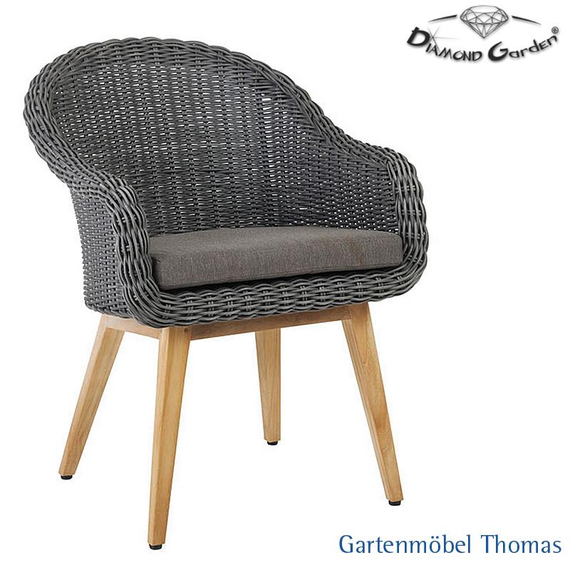 Gartenmöbel Thomas | Diamond Garden MEMPHIS Sessel Geflecht Grau ...