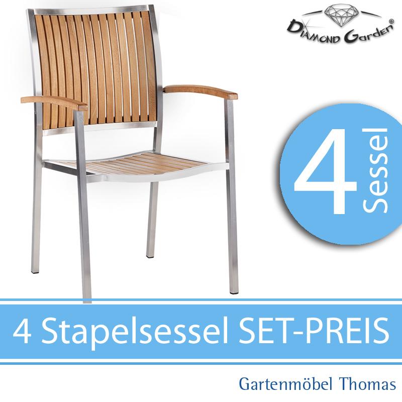 Gartenmöbel Thomas | Diamond Garden VERONA Set 4 Stapelsessel ...