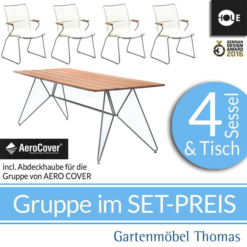 Gartenmöbel Thomas   HOUE Click GRUPPE - 4 Hochlehner Weiß + Tisch ...