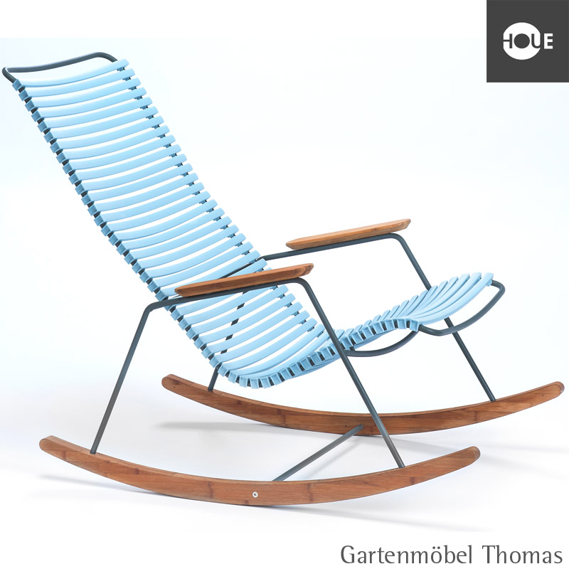 gartenm bel thomas houe click schaukelstuhl hellblau gestell metall graphit rocking chair. Black Bedroom Furniture Sets. Home Design Ideas