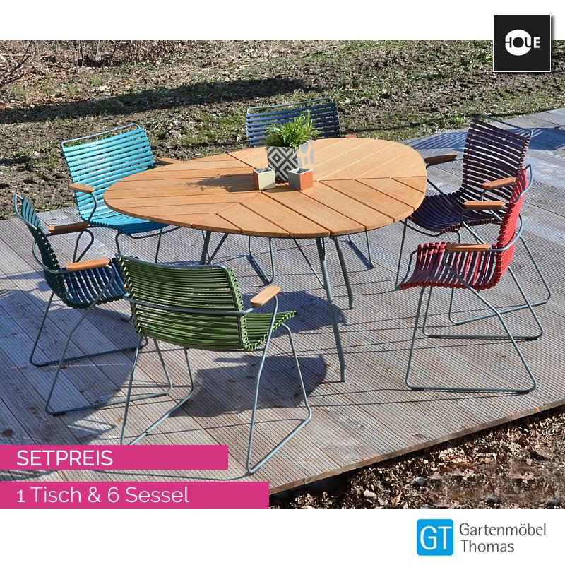HOUE Gruppe Leaf Tisch 146x146 incl. 6 Sessel Click   online kaufen   Gartenmöbel Thomas