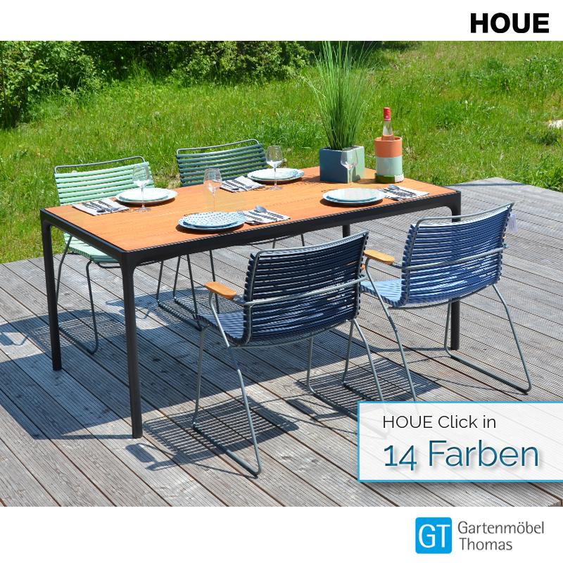 HOUE Gruppe Four Tisch 160x90 Alu Schwarz mit Bambusplatte incl. 4 Click Sessel   online kaufen ...