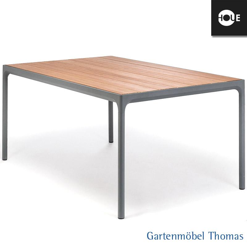 Houe Four Tisch 160x90cm Gestell Alu Grau Tischplatte Bambus