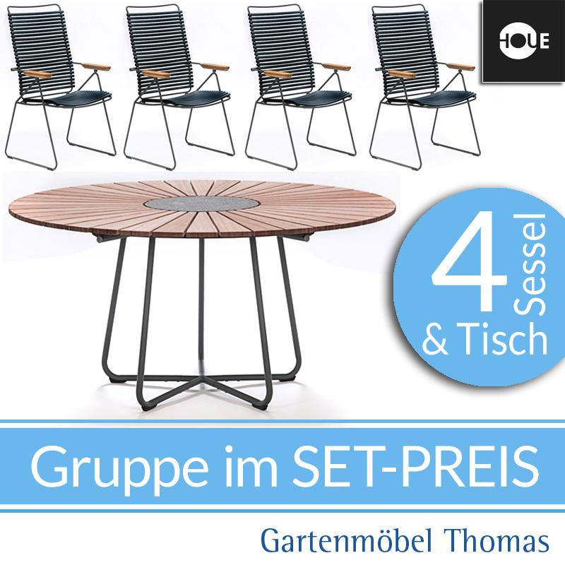 Gartenmöbel Thomas | HOUE Click GRUPPE - 4 Hochlehner Move Schwarz + ...