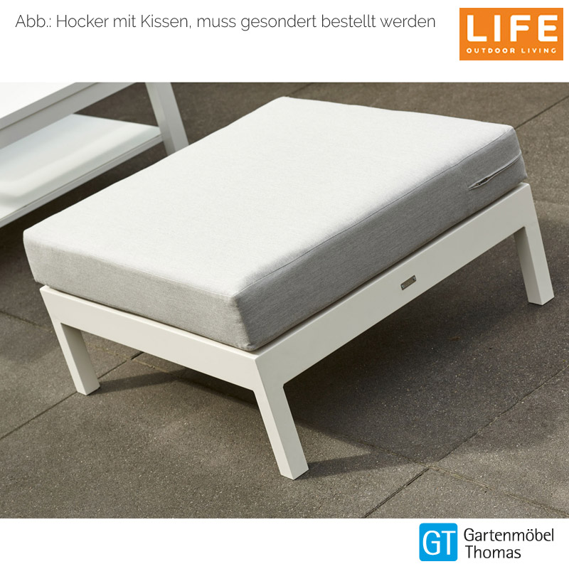 life block lounge set hocker alu weiss aw kissen mausgrau onine kaufen gartenm bel thomas. Black Bedroom Furniture Sets. Home Design Ideas