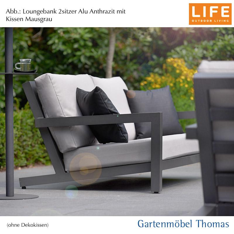 Life Block Lounge Alu Lava Anthrazit Set 2 Sitzer Bank Kissen