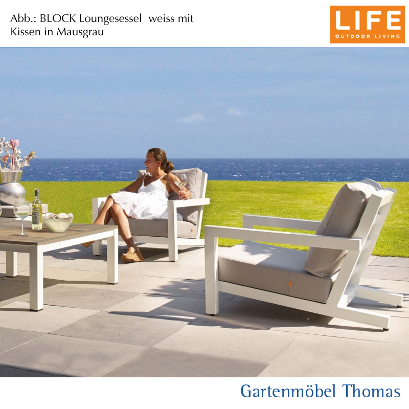 gartenm bel thomas life block lounge set sessel alu weiss kissen sunbrella farbe hellgrau. Black Bedroom Furniture Sets. Home Design Ideas