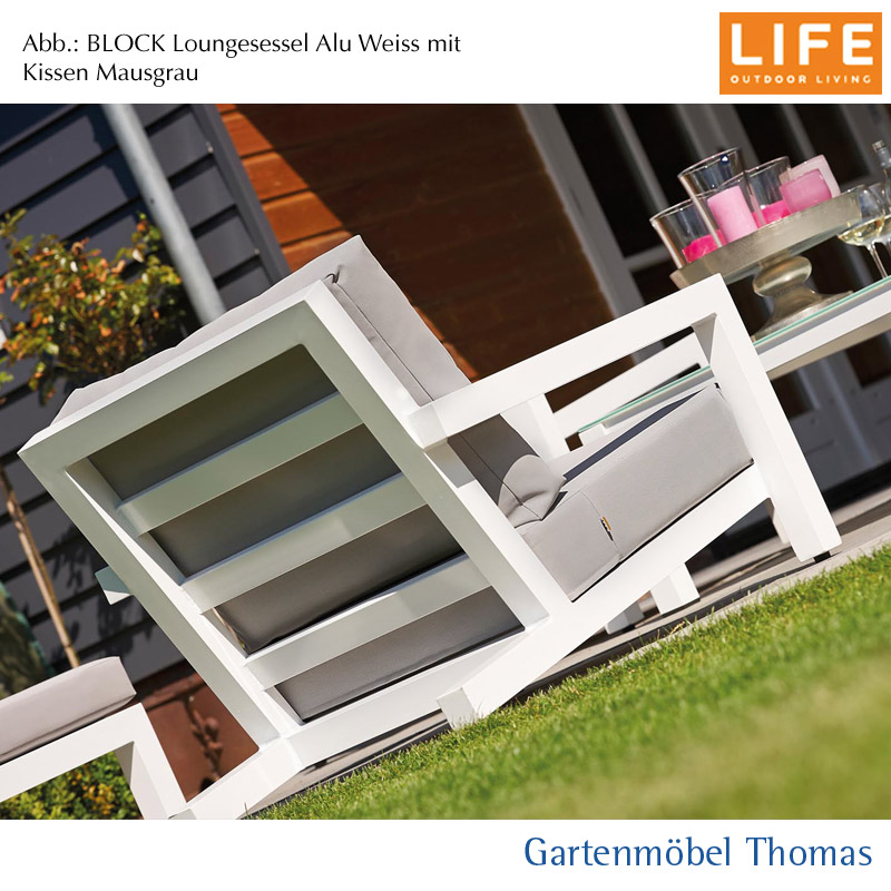 gartenm bel thomas life block lounge set sessel hocker alu weiss aw kissen mausgrau. Black Bedroom Furniture Sets. Home Design Ideas