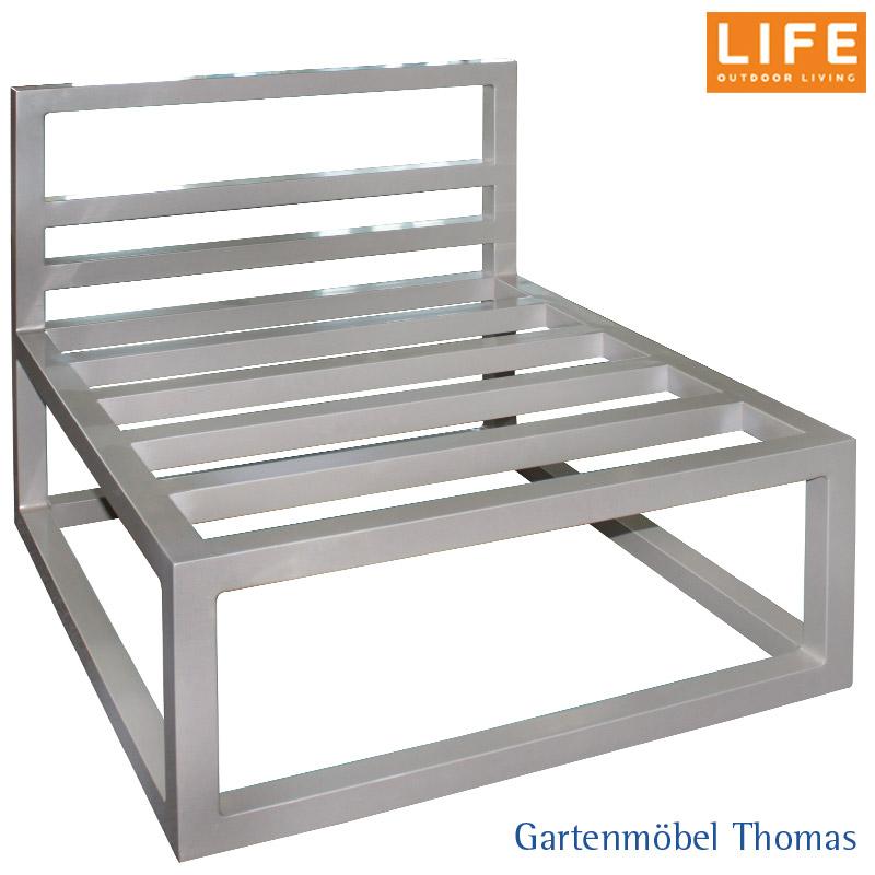 Gartenmöbel Thomas | Life FABRI Lounge SET / Mittelmodul Alu Taupe + ...