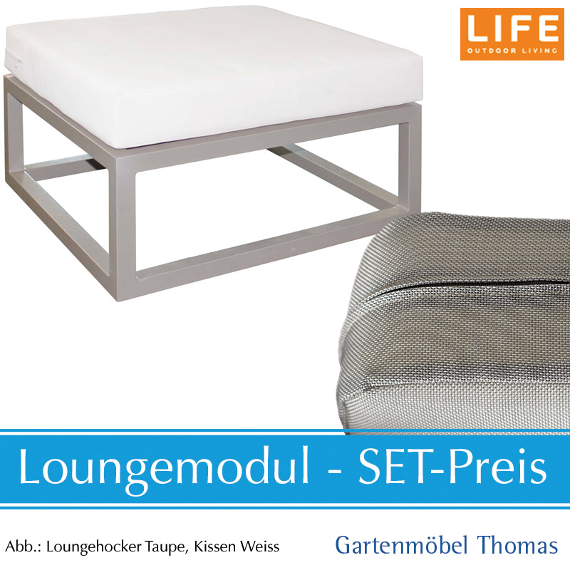 gartenm bel thomas life fabri lounge alu taupe set hocker kissen aw mausgrau hier online. Black Bedroom Furniture Sets. Home Design Ideas