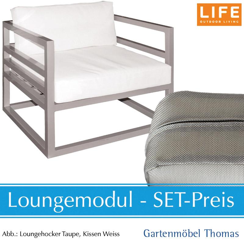 Gartenmöbel Thomas | Life FABRI Lounge Alu Taupe SET - Sessel + ...