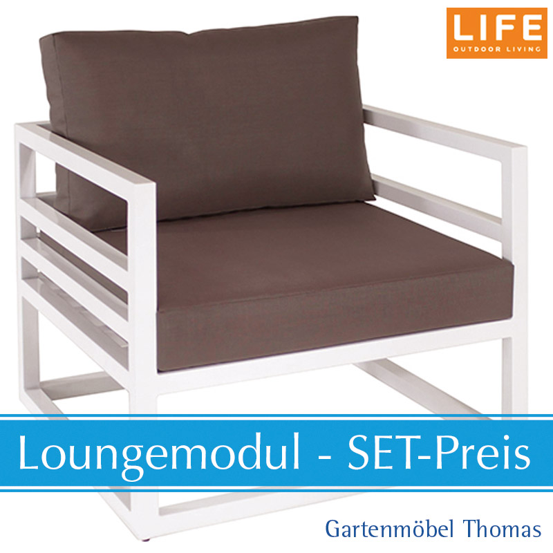 Life Fabri Lounge Alu Weiss Set Sessel Kissen Aw Taupe Online