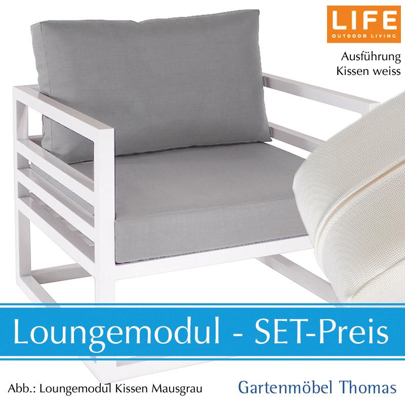 Life Fabri Lounge Alu Weiss Set Sessel Kissen Aw Weiss Online