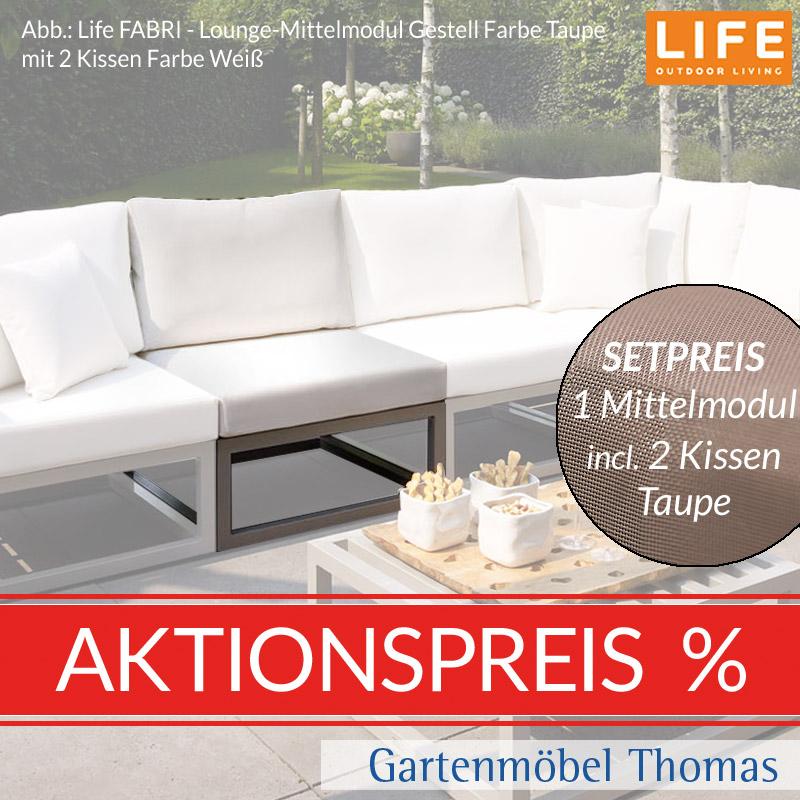 Gartenmöbel Thomas   Life FABRI Lounge Alu Taupe SET - Mittelmodul + ...