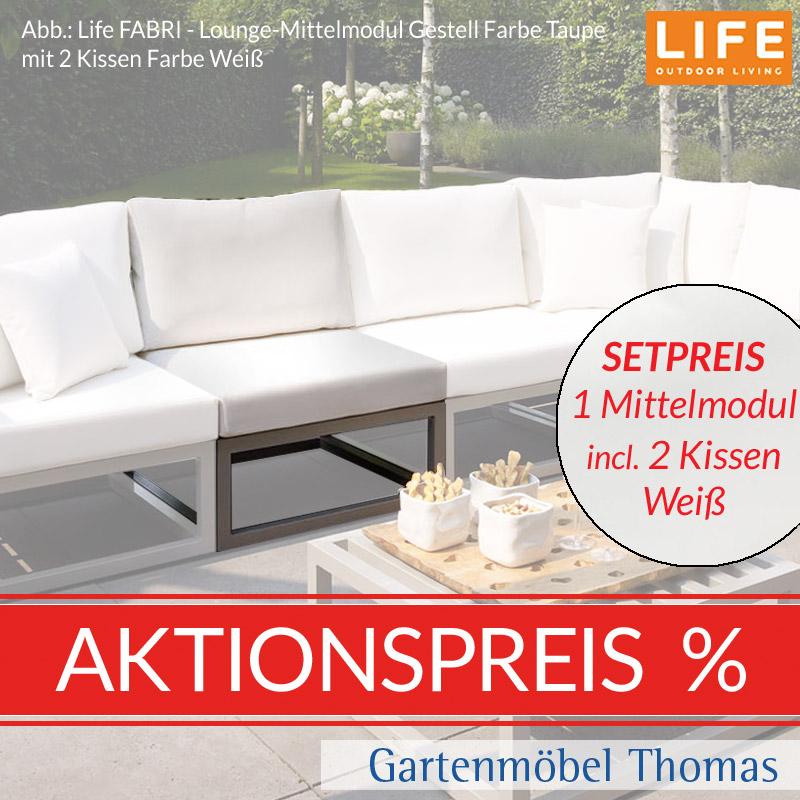 Gartenmöbel Thomas | Life FABRI Lounge Alu Taupe SET - Mittelmodul + ...