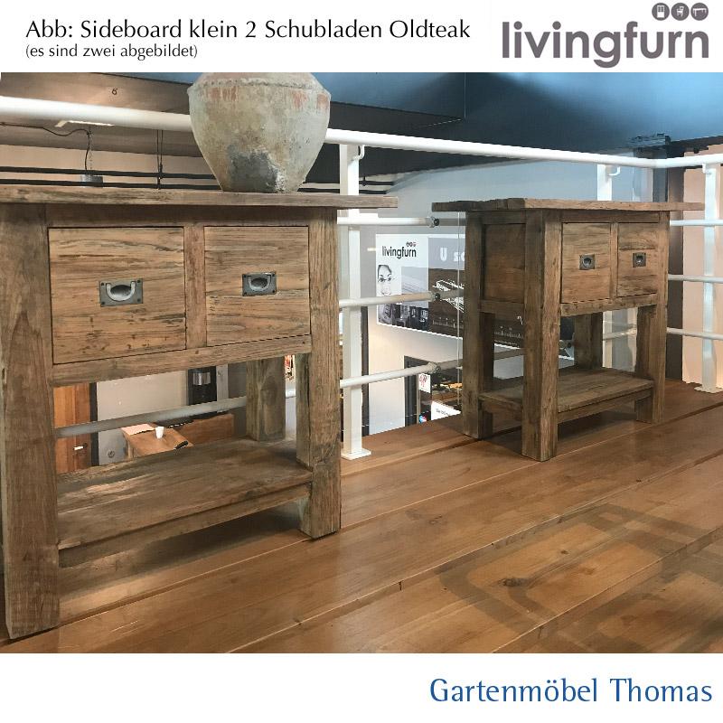 Livingfurn Sideboard Teakholz 100x40x80cm Recycle Teak Online