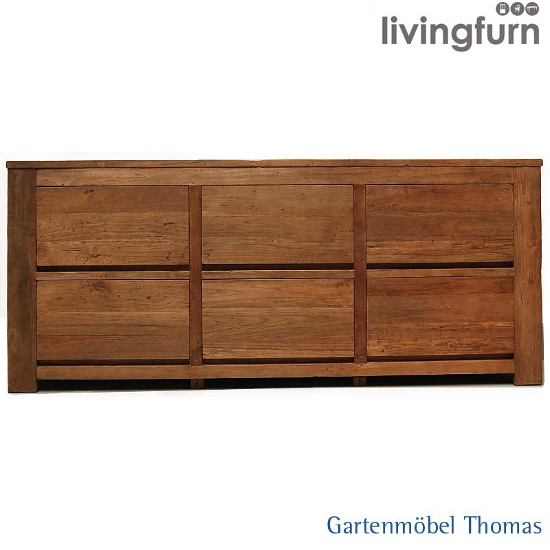 Livingfurn Dk Xxl Sideboard 220x50x90cm Old Teak Indoor Massiv