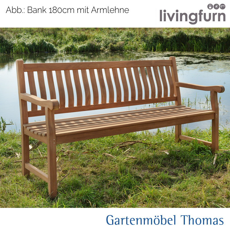 gartenm bel thomas livingfurn thomas bank 200cm teakholz ohne armlehne hier online kaufen. Black Bedroom Furniture Sets. Home Design Ideas