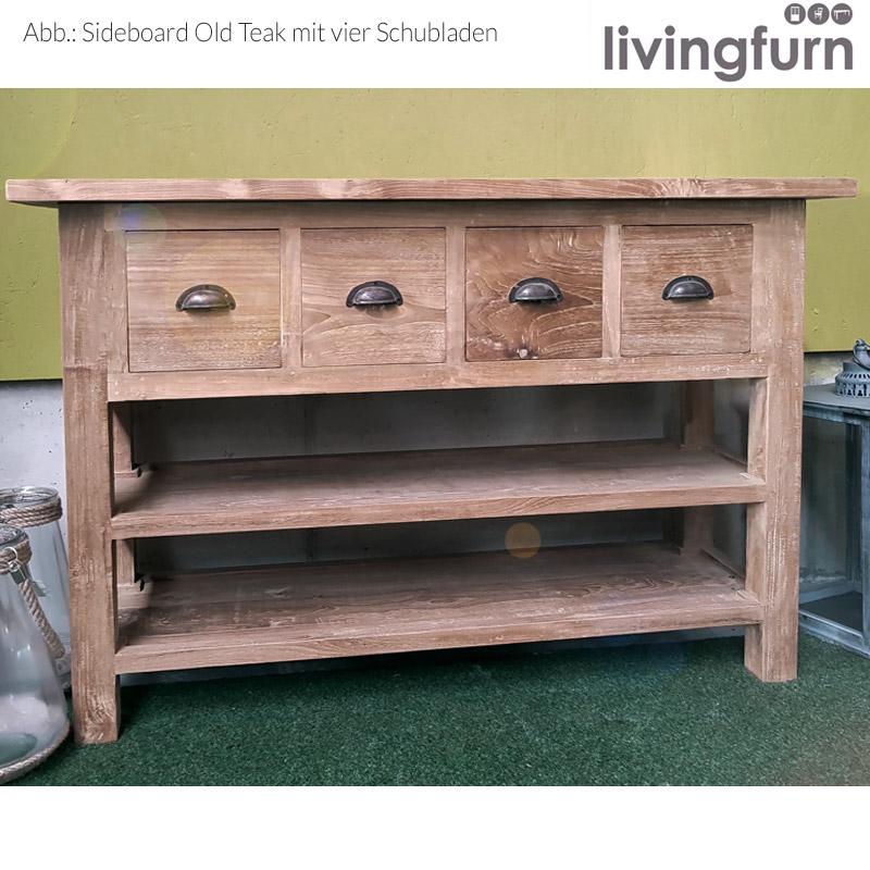 Livingfurn Thomas Sideboard Teakholz 120x40x80cm Recycle Teak
