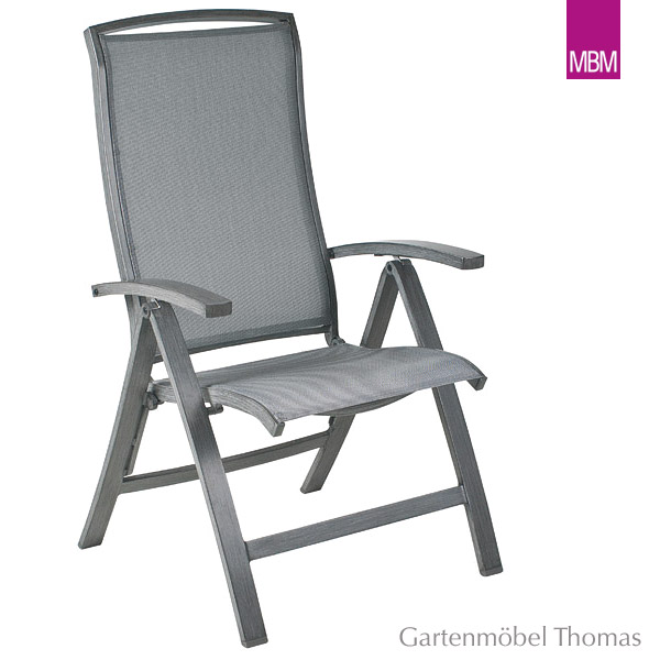 Gartenmöbel Thomas   MBM MALAGA Klappsessel Alu-grau / Textilene ...