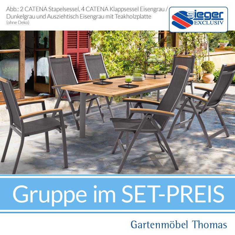 Gartenmöbel Thomas | Sieger CATENA Grau Set Ausziehtisch+4 ...