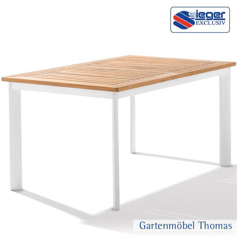 GroBartig Free Sieger Tisch X Alu Wei Tischplatte Teak Fsc With Sieger Gartentisch