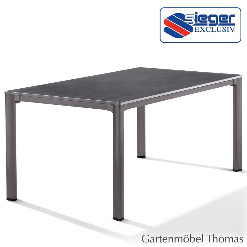 Gartenmöbel Thomas   Sieger Tisch 95 x 95 cm Alu Eisengrau / Platte ...