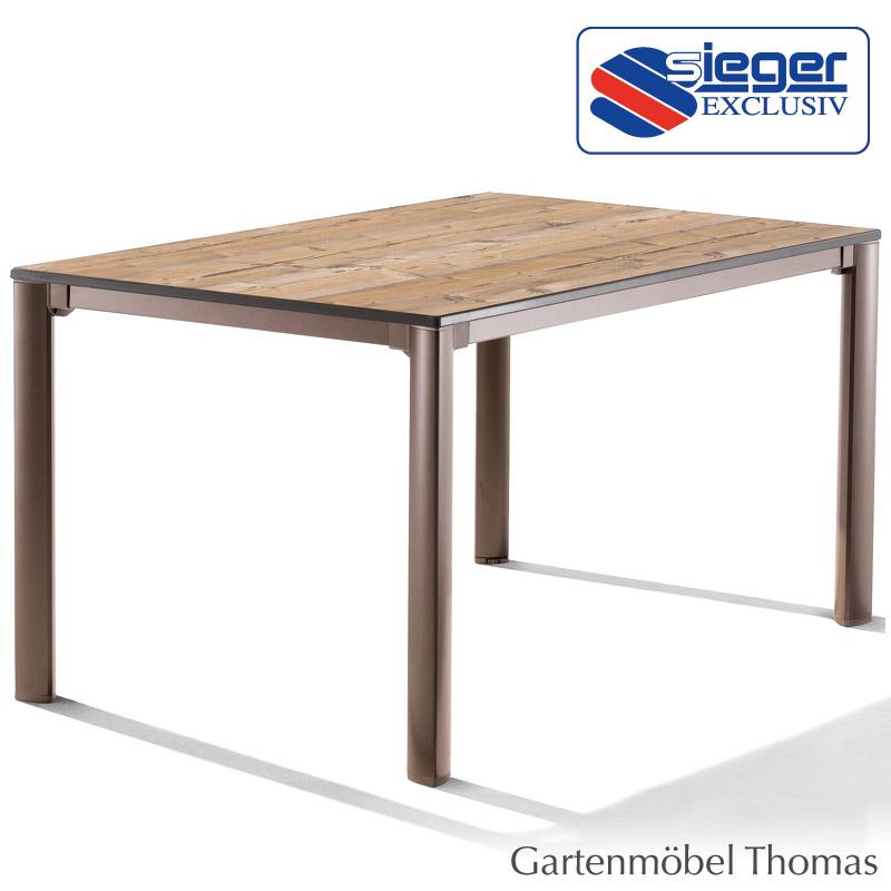 Sieger Tisch 165x95 Alu Marone/Platte Holzstruktur Fichte