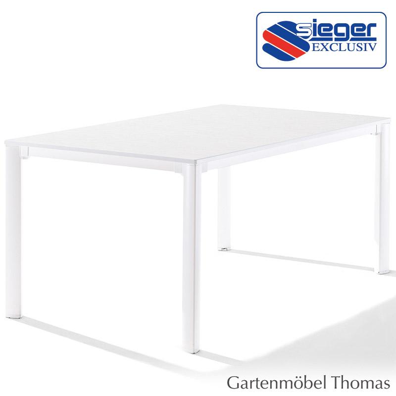 Gartenmöbel Thomas   Sieger Tisch 95 x 95 cm Alu Weiß / Platte ...