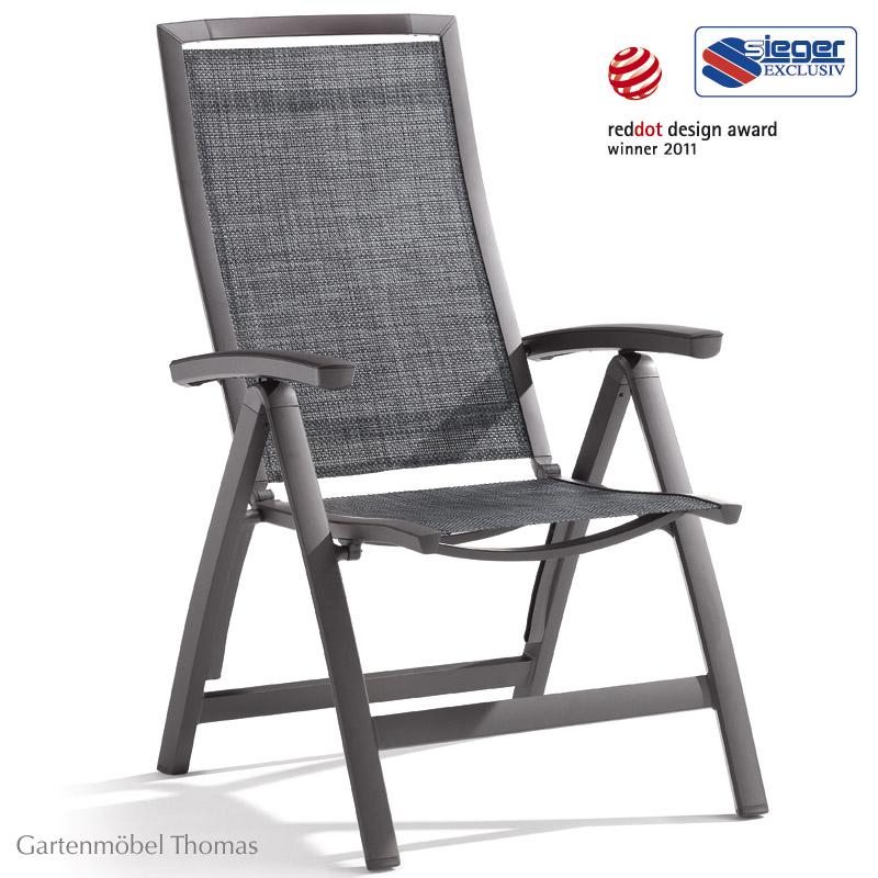 gartenm bel thomas sieger trento klappsessel aluminium eisengrau bezug silbergrau hier. Black Bedroom Furniture Sets. Home Design Ideas