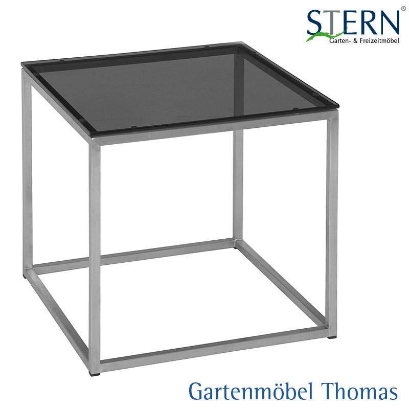 stern beistelltisch 45x45 edelstahl mit glasplatte schwarz gartenm bel thomas. Black Bedroom Furniture Sets. Home Design Ideas