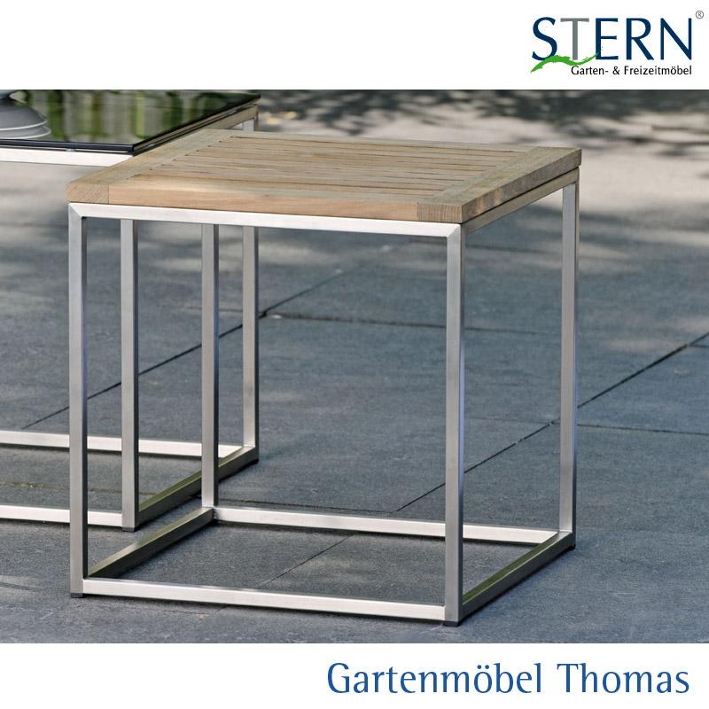 Stern Beistelltisch 45x45 Edelstahl Tischplatte Teakholz Fsc
