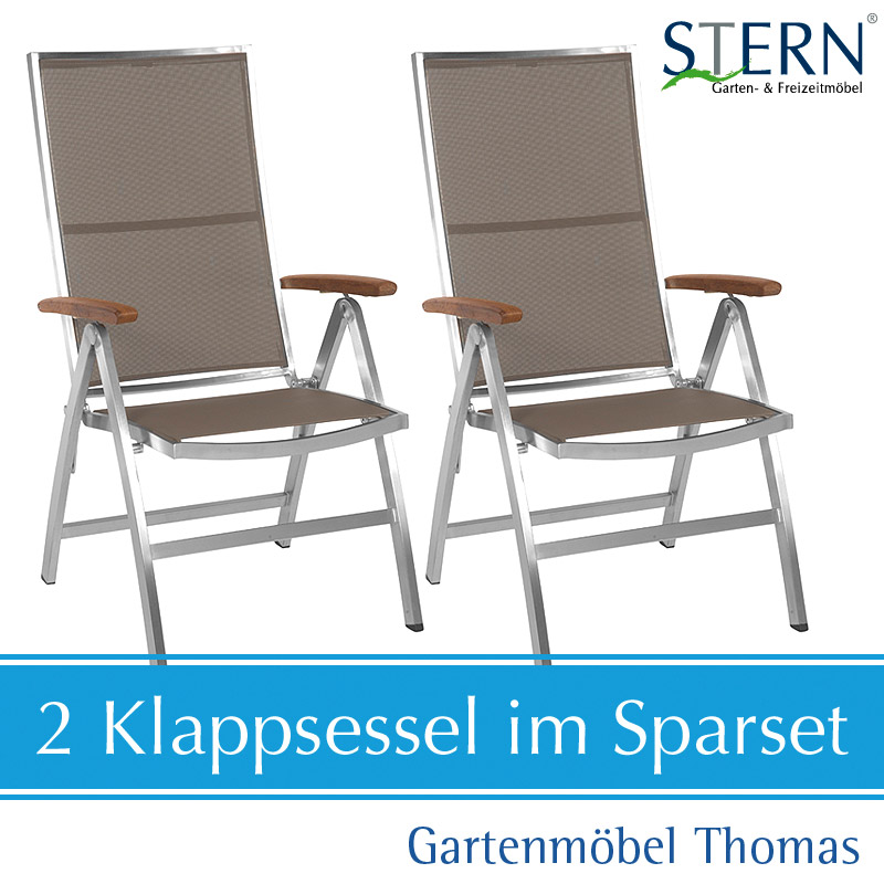 gartenm bel thomas stern cardiff set 2 klappsessel edelstahl texttilene taupe hier online kaufen. Black Bedroom Furniture Sets. Home Design Ideas