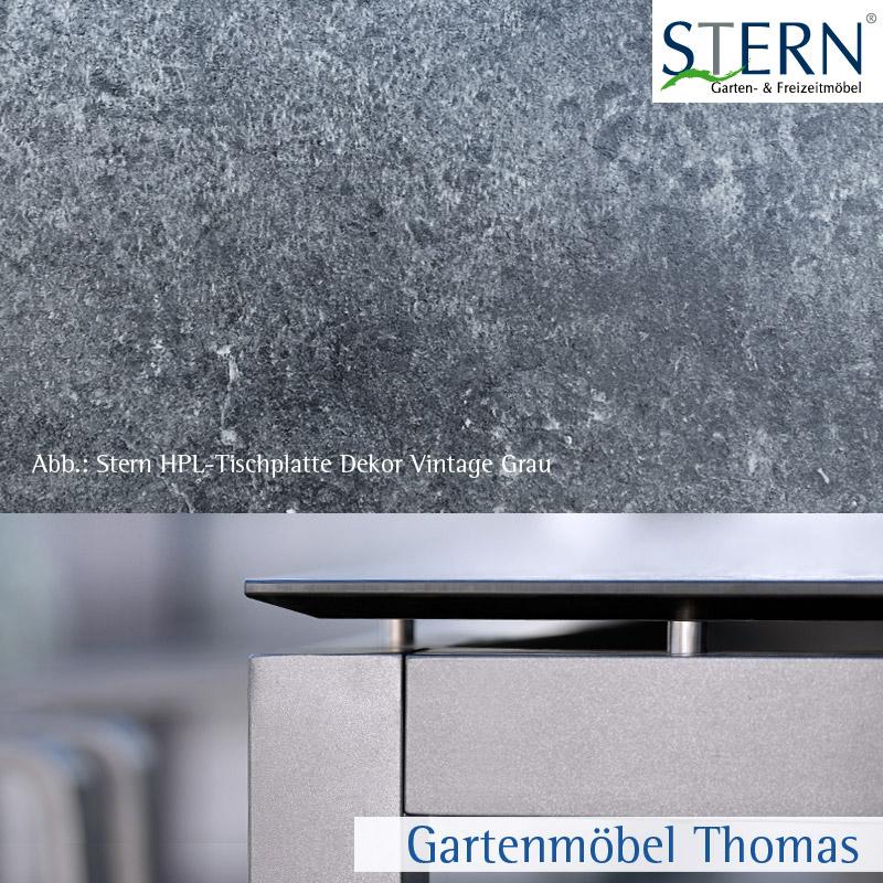 gartenm bel thomas stern tischplatte 130x80cm hpl vintage grau silverstar v2 0 hier online. Black Bedroom Furniture Sets. Home Design Ideas