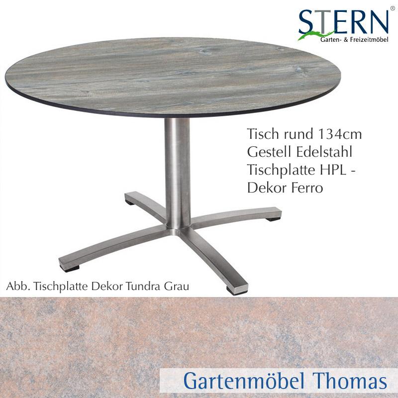 Gartenmöbel Thomas | Stern TISCH 134 rund Edelstahl - Platte HPL ...