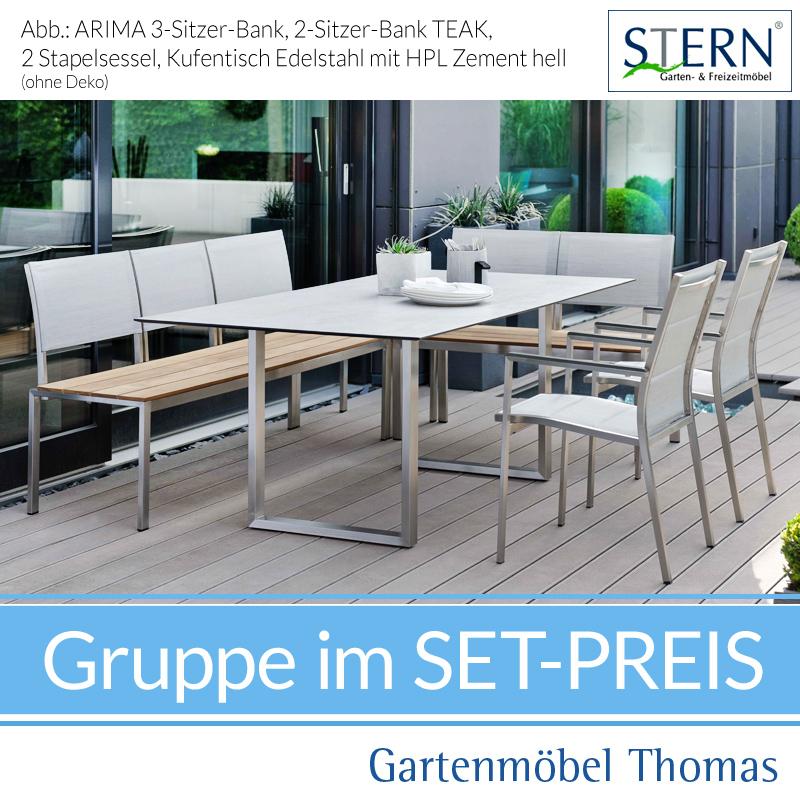 Stern Arima Gruppe Edelstahl 2 Banke 2 Sessel Tisch 200x100cm