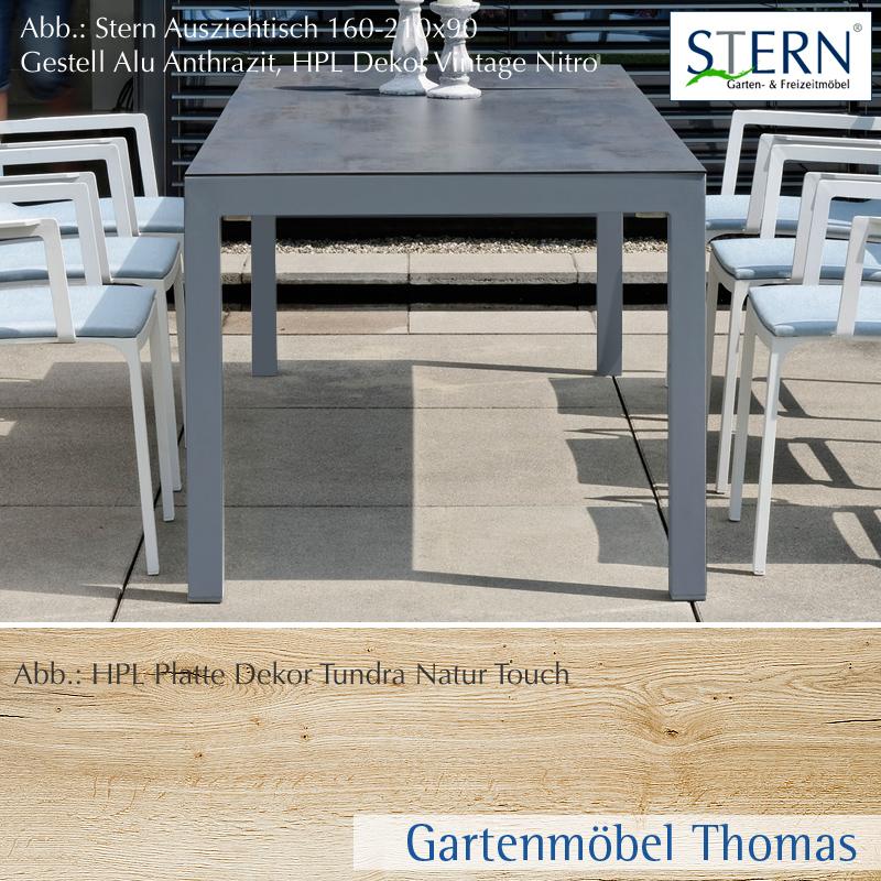 Stern SELECT Ausziehtisch 160 210x90cm Alu Anthrazit   HPL Platte Tundra  Natur Touch   1