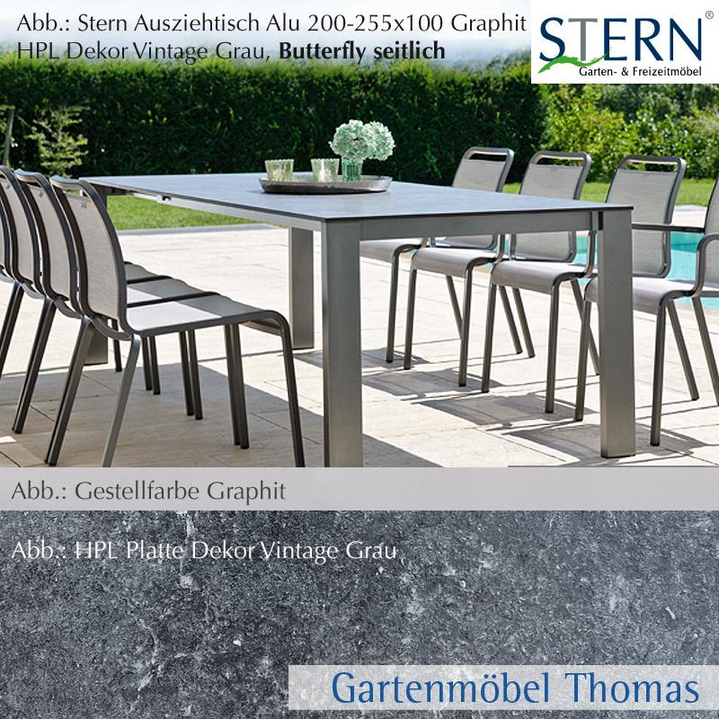 Stern select ausziehtisch 200 255x100cm alu graphit hpl for Ausziehtisch vintage