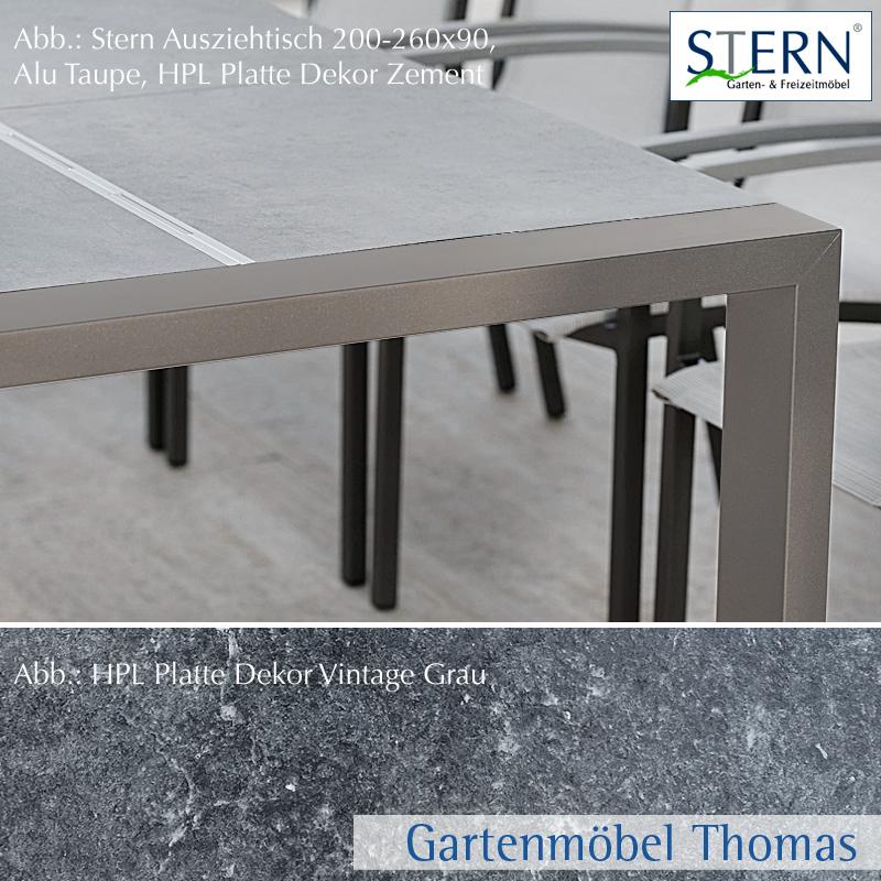 Stern select ausziehtisch 200 260x90cm alu taupe hpl for Ausziehtisch vintage