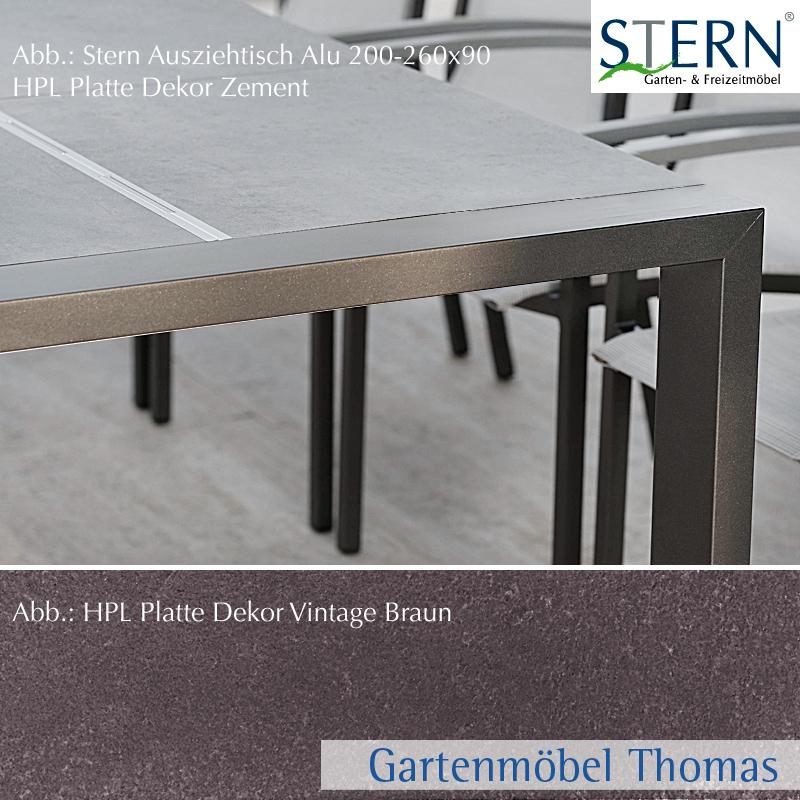 Stern SELECT Ausziehtisch 200 260x90cm Alu Anthrazit   Platte HPL Vintage  Braun   Seitlicher