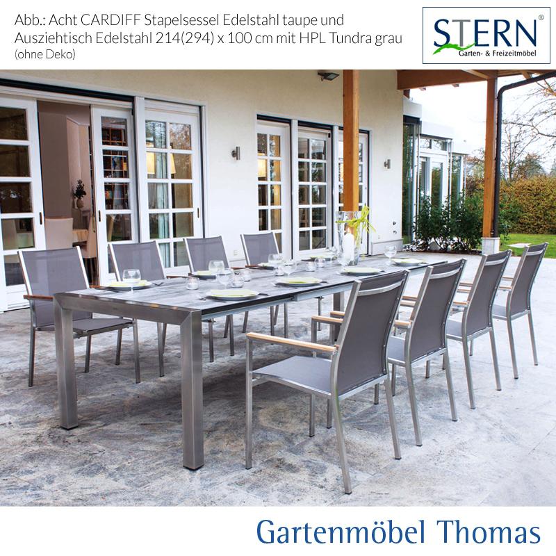 stern cardiff gruppe edelstahl 8 sessel ausziehtisch 214 294x100cm tundra grau onine. Black Bedroom Furniture Sets. Home Design Ideas