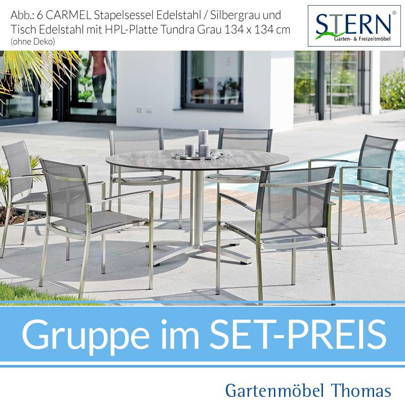Stern CARMEL GRUPPE Edelstahl   6 Sessel + Runder Tisch 134cm Tundra Grau