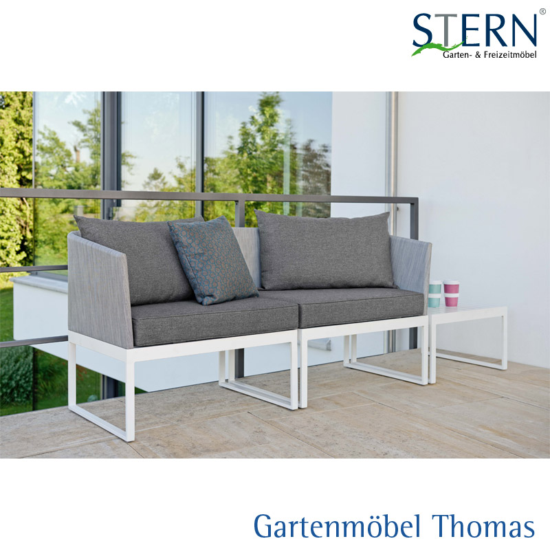 gartenm bel thomas stern donna city lounge alu weiss bezug textilene silber inkl sitz. Black Bedroom Furniture Sets. Home Design Ideas